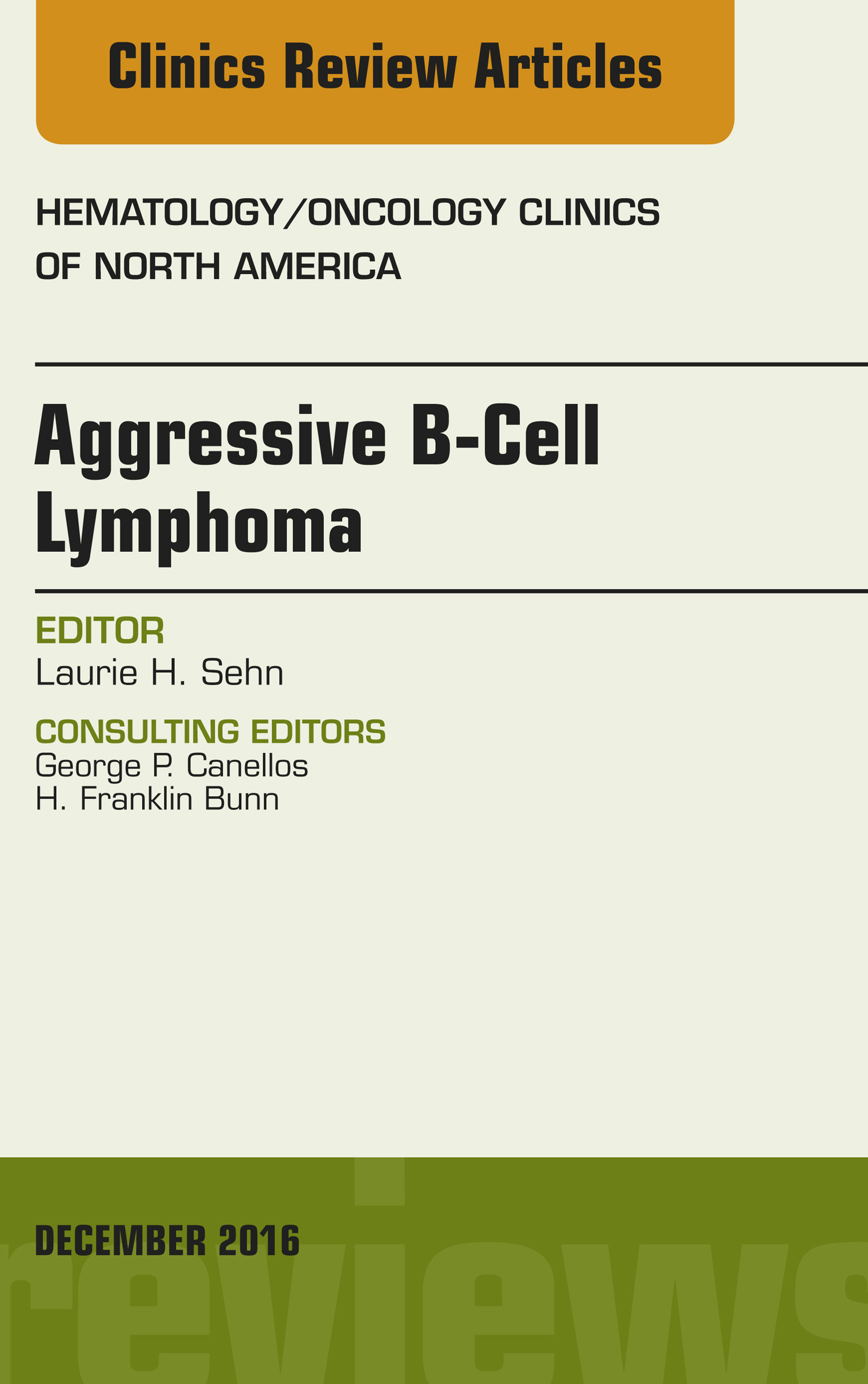 Aggressive B- Cell Lymphoma, An Issue of Hematology/Oncology Clinics of North America,
