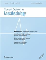 Cover Current Opinion in Anesthesiology